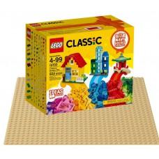 LEGO Classic Kaladėlų kūrybinė dėžutė 10703 + smėlio spalvos statymo lentelė 10699