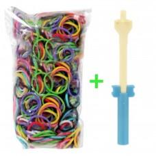 Rainbow Loom® Įvairių spalvų gumyčių papildymas + Plastikinis vąšelis su mini staklėmis