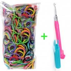 Rainbow Loom® Įvairių spalvų gumyčių papildymas + Metalinis vąšelis (rožinis)